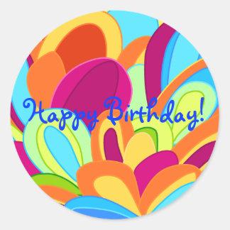 Cumpleaños de las etiquetas engomadas del pavo pegatina redonda