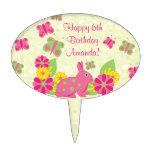 Cumpleaños de las flores de mariposas del conejo d decoración para tarta