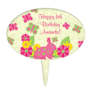 Cumpleaños de las flores de mariposas del conejo decoraciones para tartas