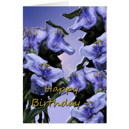 Cumpleaños de las flores salvajes de la lavanda fe felicitaciones