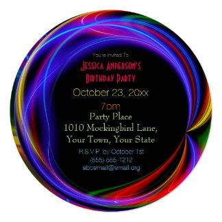 """Cumpleaños de las luces de neón del laser invitación 5.25"""" x 5.25"""""""