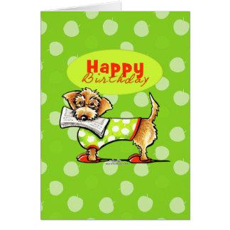 Cumpleaños de las manzanas del Dachshund feliz Tarjeta De Felicitación
