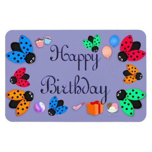 Cumpleaños de las mariquitas imán rectangular
