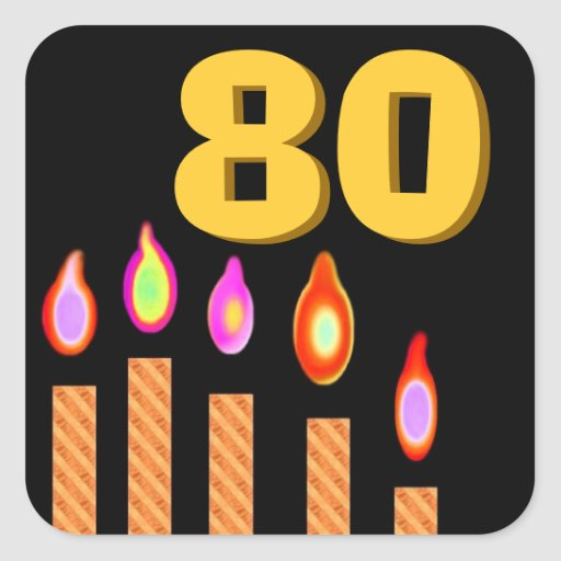Cumpleaños de las velas del oro 80.o pegatina cuadrada