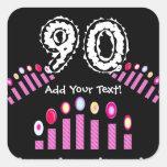 ¡Cumpleaños de las velas del rosa el 90.o personal Colcomanias Cuadradas