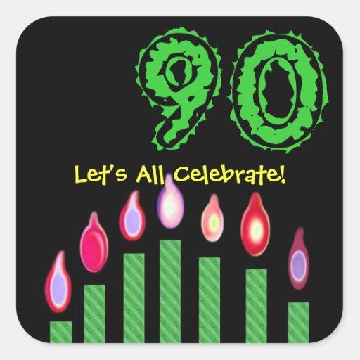 Cumpleaños de las velas del verde el 90.o nos dejó pegatina cuadradas personalizada