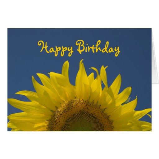 Cumpleaños de levantamiento del girasol feliz felicitación