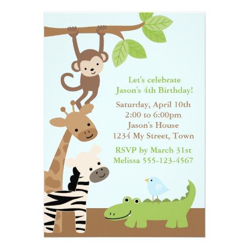 Cumpleaños de los animales de la selva comunicado personalizado