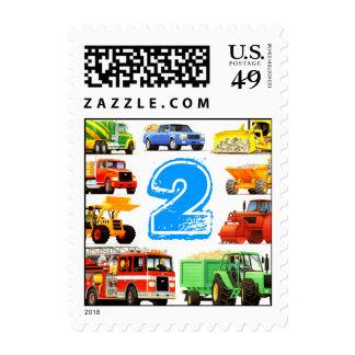 Cumpleaños de los camiones de la construcción del sello