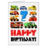 Cumpleaños de los camiones grandes del niño 7mo tarjeta
