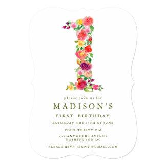 """Cumpleaños de los chicas florales de la acuarela invitación 5"""" x 7"""""""
