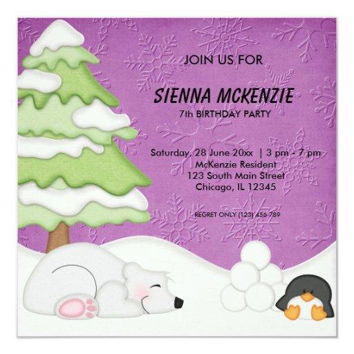 """Cumpleaños de los compinches de la nieve invitación 5.25"""" x 5.25"""""""