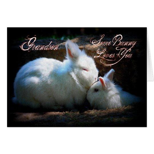 Cumpleaños de los conejitos del nieto que se besa tarjeta de felicitación