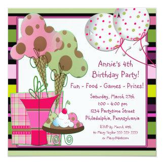 """Cumpleaños de los conos y de los globos del helado invitación 5.25"""" x 5.25"""""""