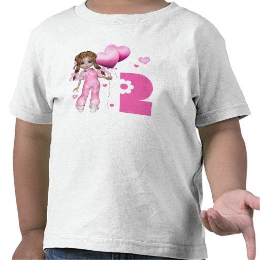 Cumpleaños de los corazones del chica 2do camisetas