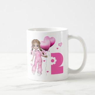 Cumpleaños de los corazones del chica 2do taza básica blanca