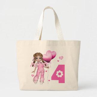 Cumpleaños de los corazones del chica 4to bolsa tela grande