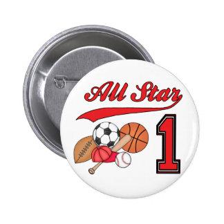 Cumpleaños de los deportes de All Star 1r Pin Redondo De 2 Pulgadas