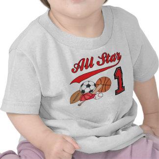 Cumpleaños de los deportes de All Star 1r Camiseta