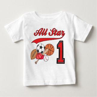 Cumpleaños de los deportes de All Star 1r Playera De Bebé