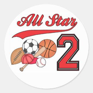 Cumpleaños de los deportes de All Star 2do Pegatina Redonda
