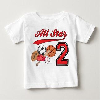 Cumpleaños de los deportes de All Star 2do Playera De Bebé