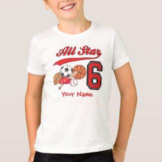 Cumpleaños de los deportes de All Star 6to Camisas
