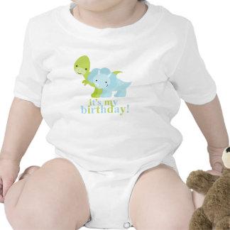 Cumpleaños de los dinosaurios azules y verdes traje de bebé