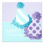 Cumpleaños de los gorras del fiesta invitación 13,3 cm x 13,3cm