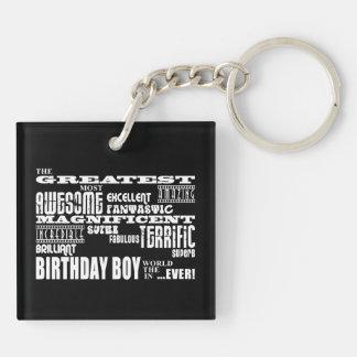 Cumpleaños de los muchachos: El más grande la Llavero Cuadrado Acrílico A Doble Cara