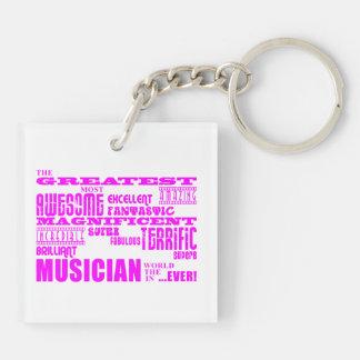 Cumpleaños de los músicos de los chicas: Músico Llavero Cuadrado Acrílico A Doble Cara