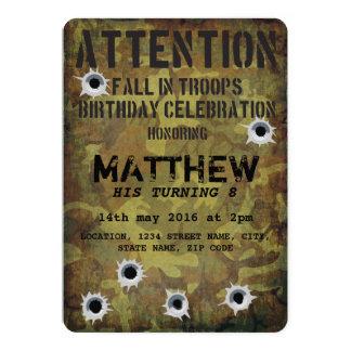 """Cumpleaños de los niños de los agujeros de bala invitación 5"""" x 7"""""""