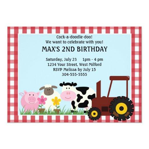 Cumpleaños de los niños de los animales del campo invitación 12,7 x 17,8 cm