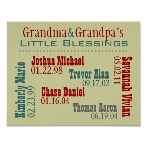 Cumpleaños de los nombres de los Grandkids de la a Impresiones