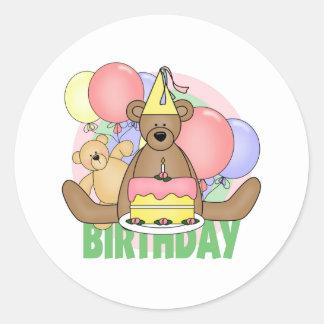 Cumpleaños de los osos pegatina redonda