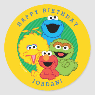 Cumpleaños de los Pals del Sesame Street Pegatina Redonda