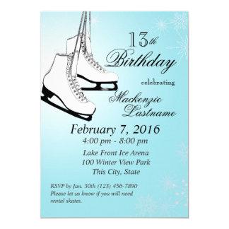 """Cumpleaños de los patines y de los copos de nieve invitación 5"""" x 7"""""""