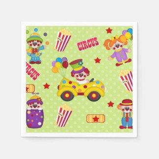 Cumpleaños de los payasos de circo servilleta de papel