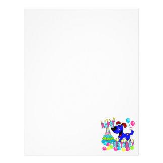 Cumpleaños de los perritos de PEGUI feliz - azul Plantilla De Membrete