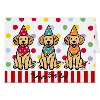 Cumpleaños de los perritos del golden retriever tarjeta de felicitación