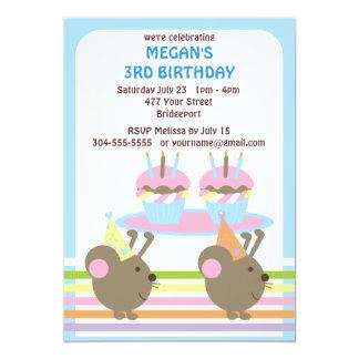"""Cumpleaños de los ratones de los niños invitación 5"""" x 7"""""""