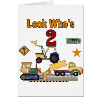Cumpleaños de los vehículos de la construcción 2do tarjeta de felicitación