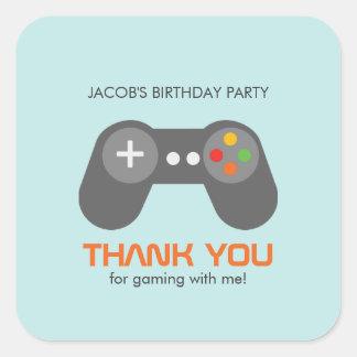 Cumpleaños de los videojuegos pegatina cuadrada