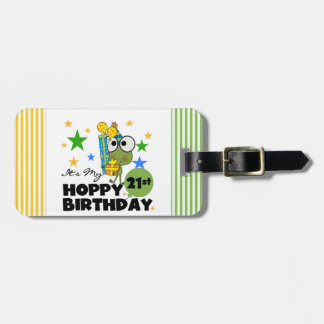 Cumpleaños de lúpulo de Froggie 21ro Etiqueta Para Equipaje