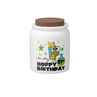 Cumpleaños de lúpulo de Froggie 21ro Jarra Para Caramelo
