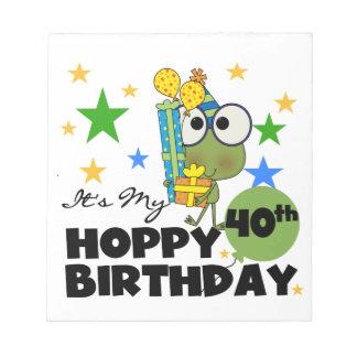 Cumpleaños de lúpulo de Froggie 40 o Libreta Para Notas