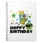 Cumpleaños de lúpulo de Froggie 40.o Libretas Espirales