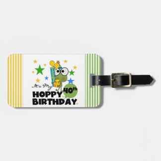 Cumpleaños de lúpulo de Froggie 40 o Etiquetas Para Maletas