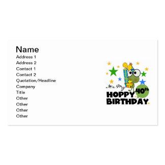 Cumpleaños de lúpulo de Froggie 40.o Tarjetas De Visita