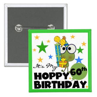 Cumpleaños de lúpulo de Froggie 60.o Pin Cuadrado